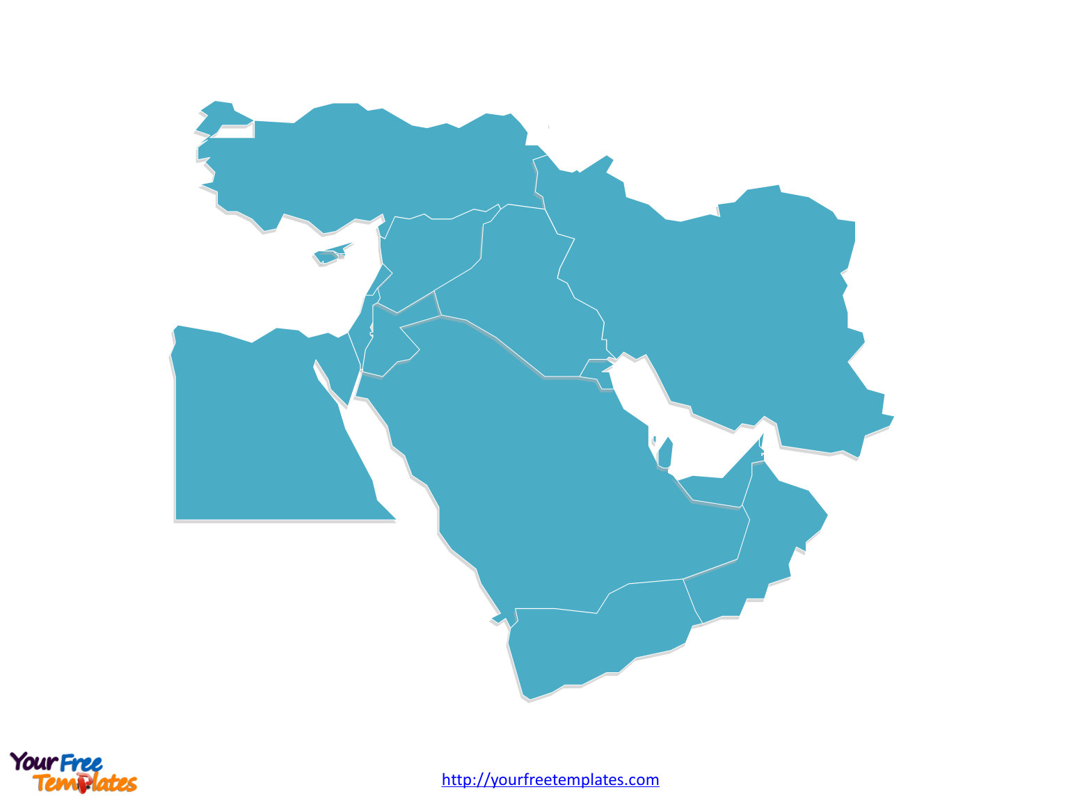Blank Map of Middle East with countries
