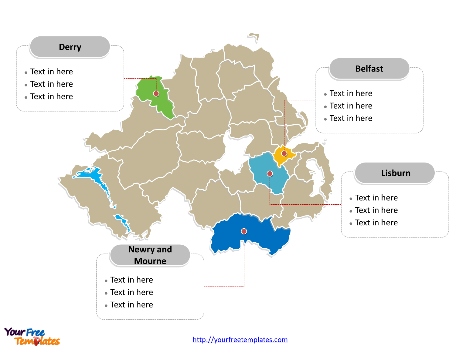 Northern Ireland Political map labeled with major districts