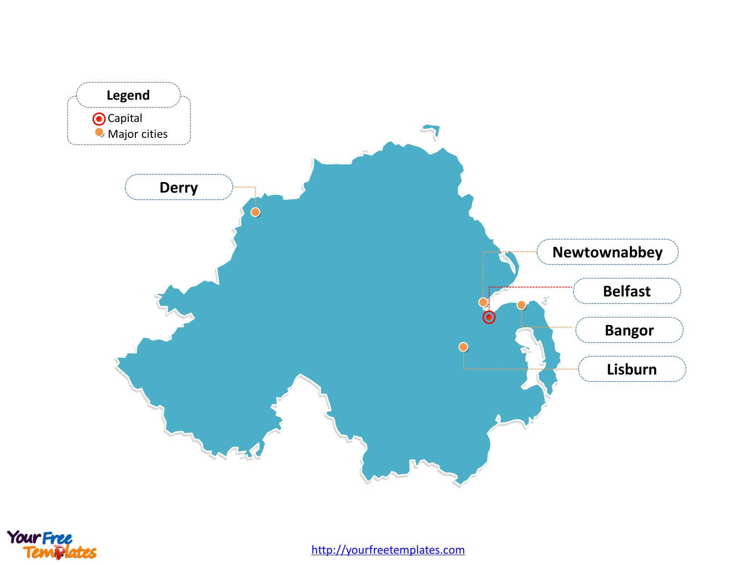 Map Of Ireland With Major Cities.Free Northern Ireland Editable Map Free Powerpoint Templates