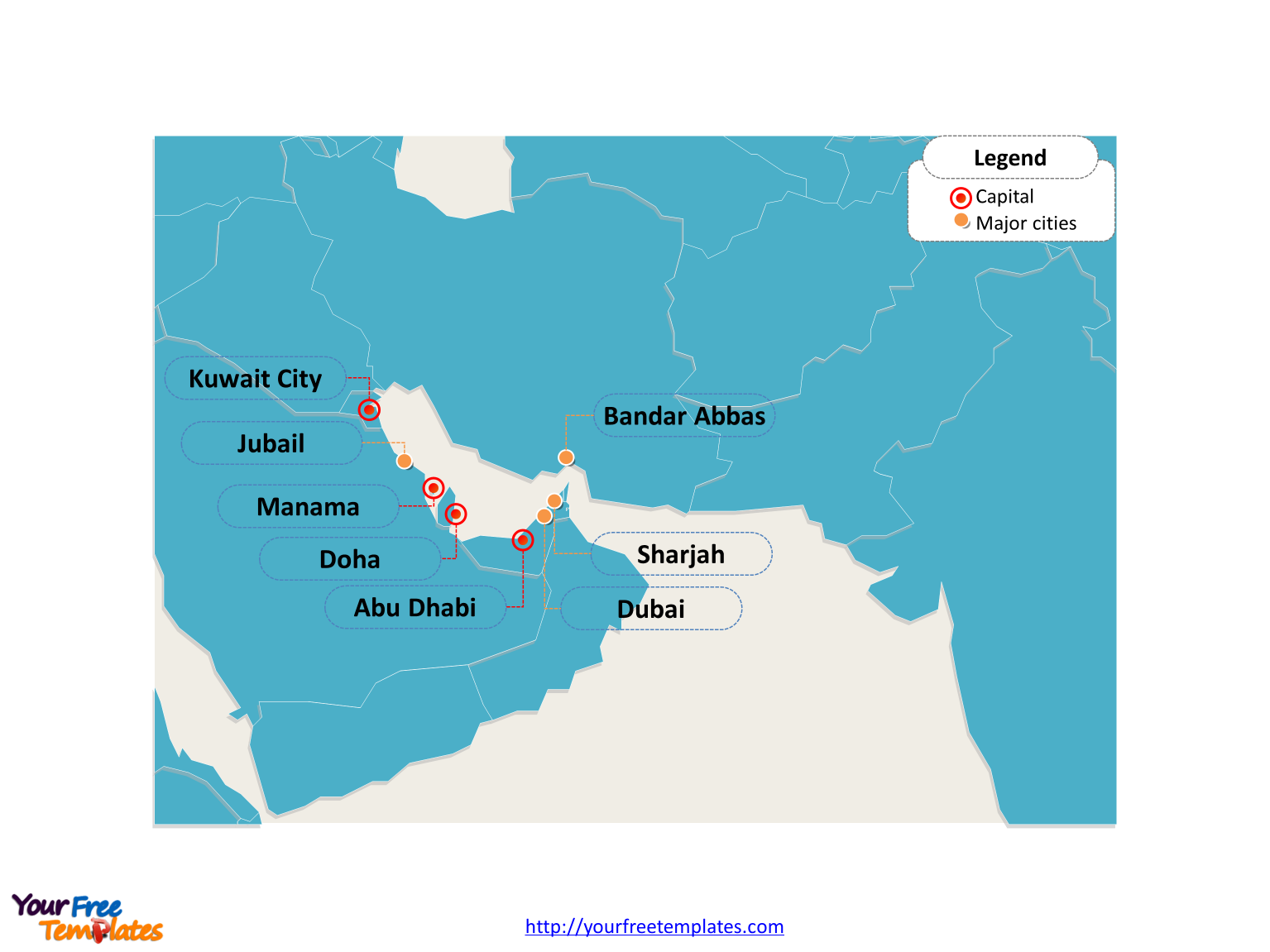 Free persian gulf strait of hormuz map free powerpoint templates persian gulf map with cities toneelgroepblik Image collections