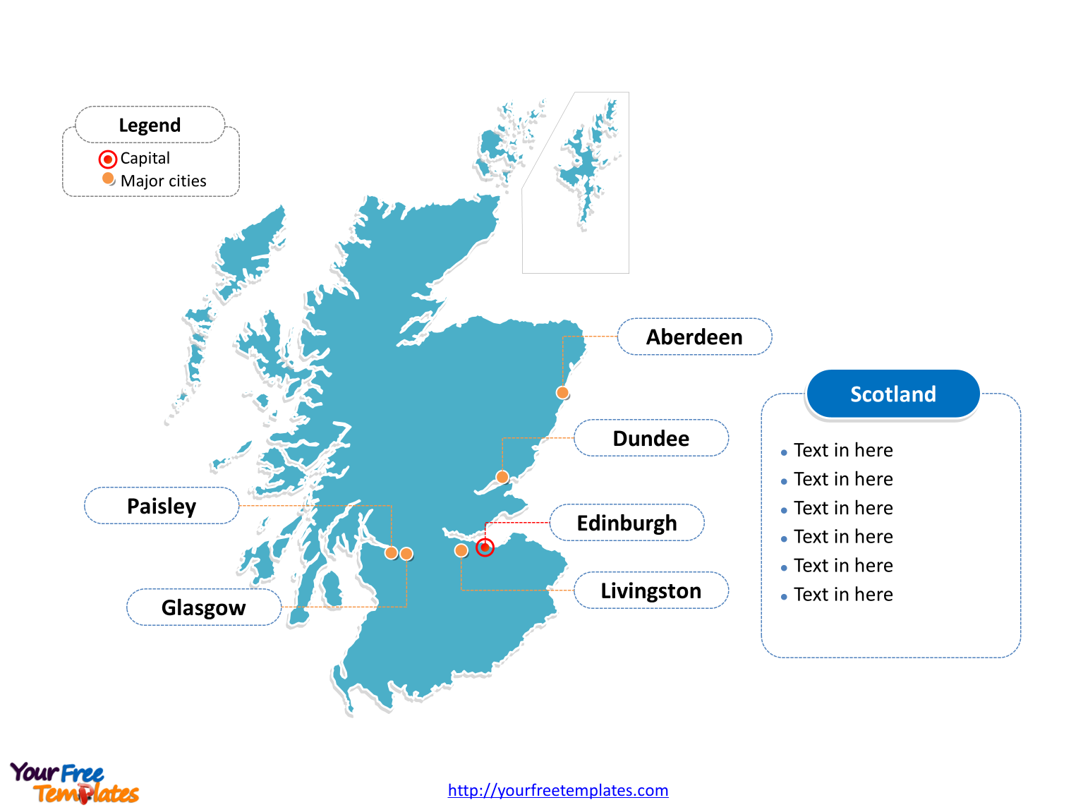 Free Scotland Editable Map - Free PowerPoint Templates