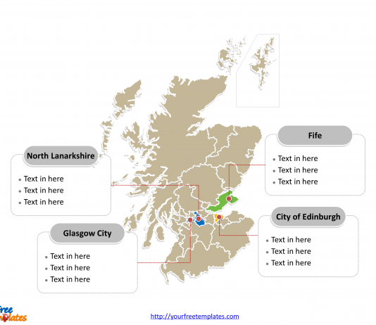 Scotland Political map labeled with major council areas