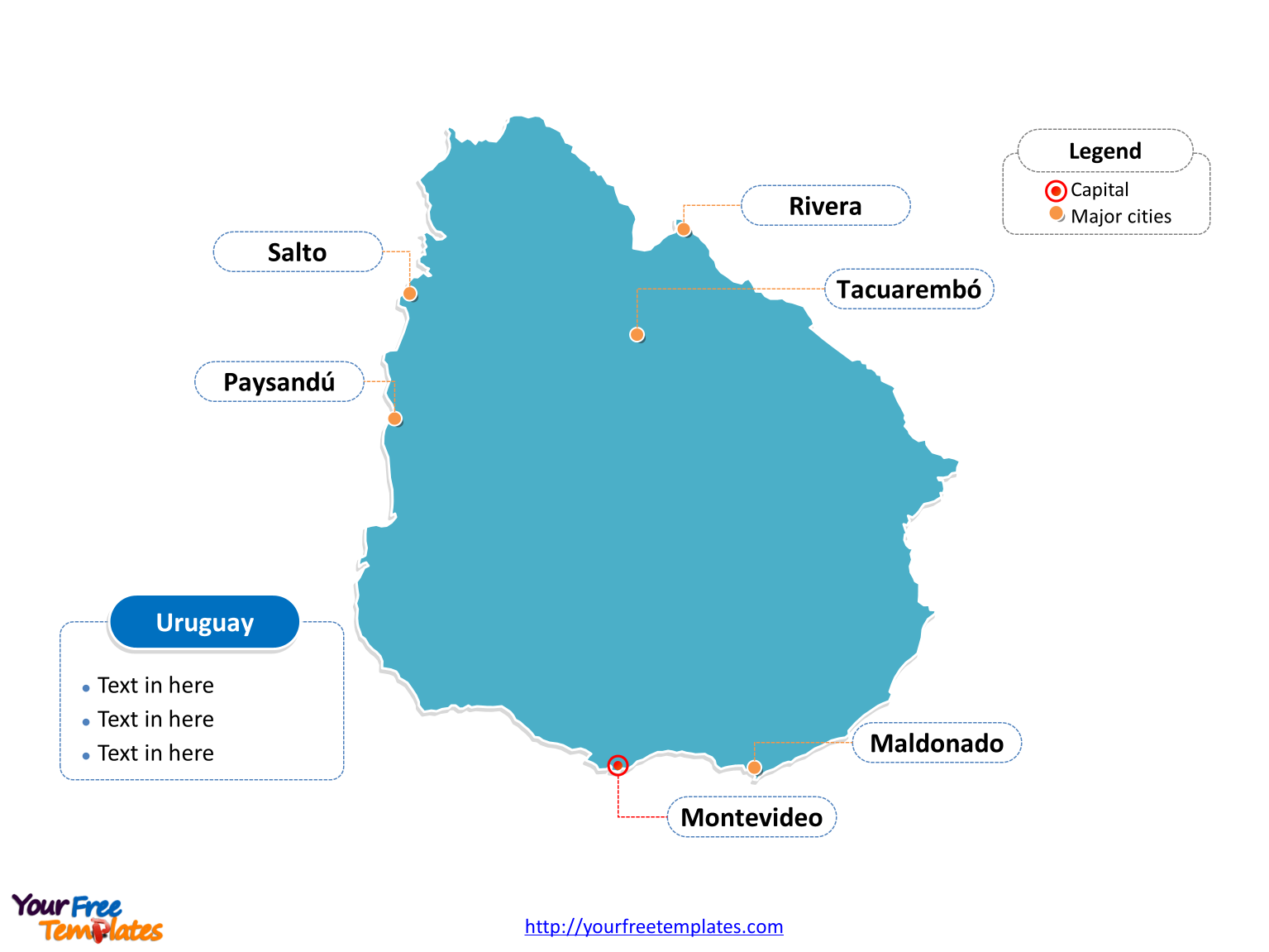 Free Uruguay Editable Map - Free PowerPoint Templates