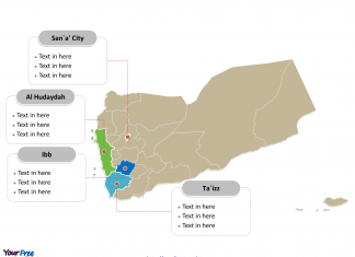 Yemen Political map labeled with major governorates