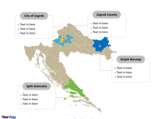 Croatia Political map labeled with major counties