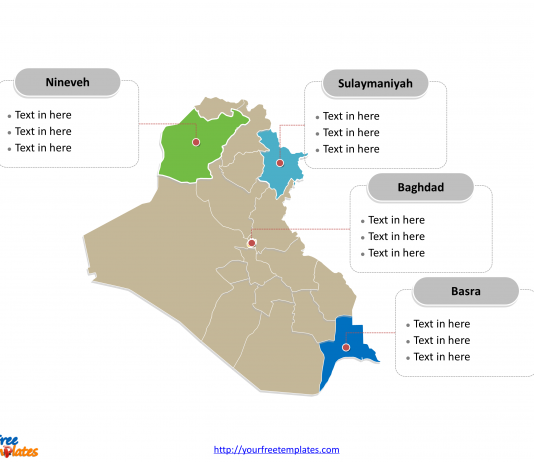 Western asia archives free powerpoint templates free iraq editable map toneelgroepblik Image collections