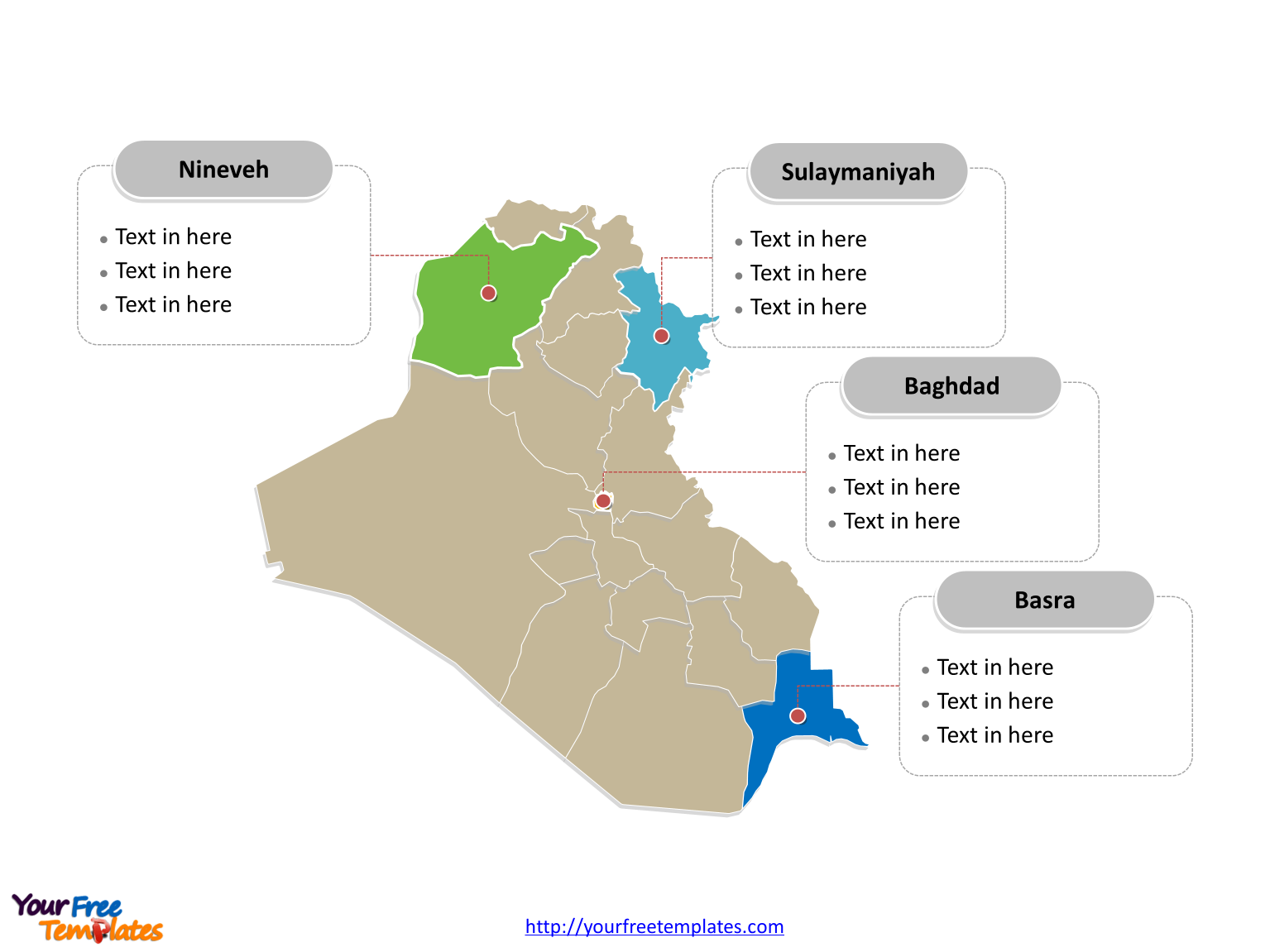 Iraq Outline map labeled with cities