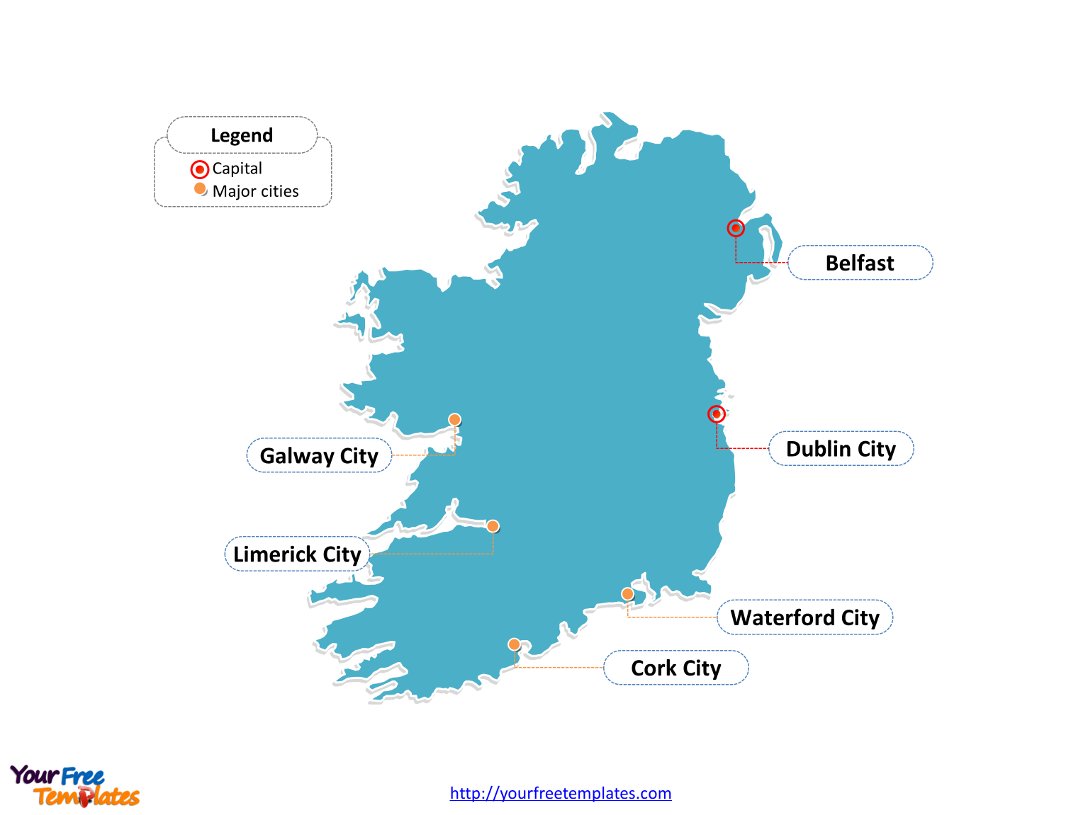 Ireland Outline map labeled with cities