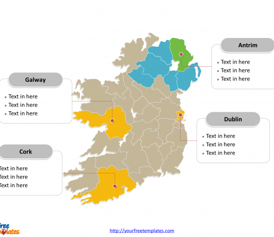 Ireland Political map labeled with major counties of Republic of Ireland and Northern Ireland