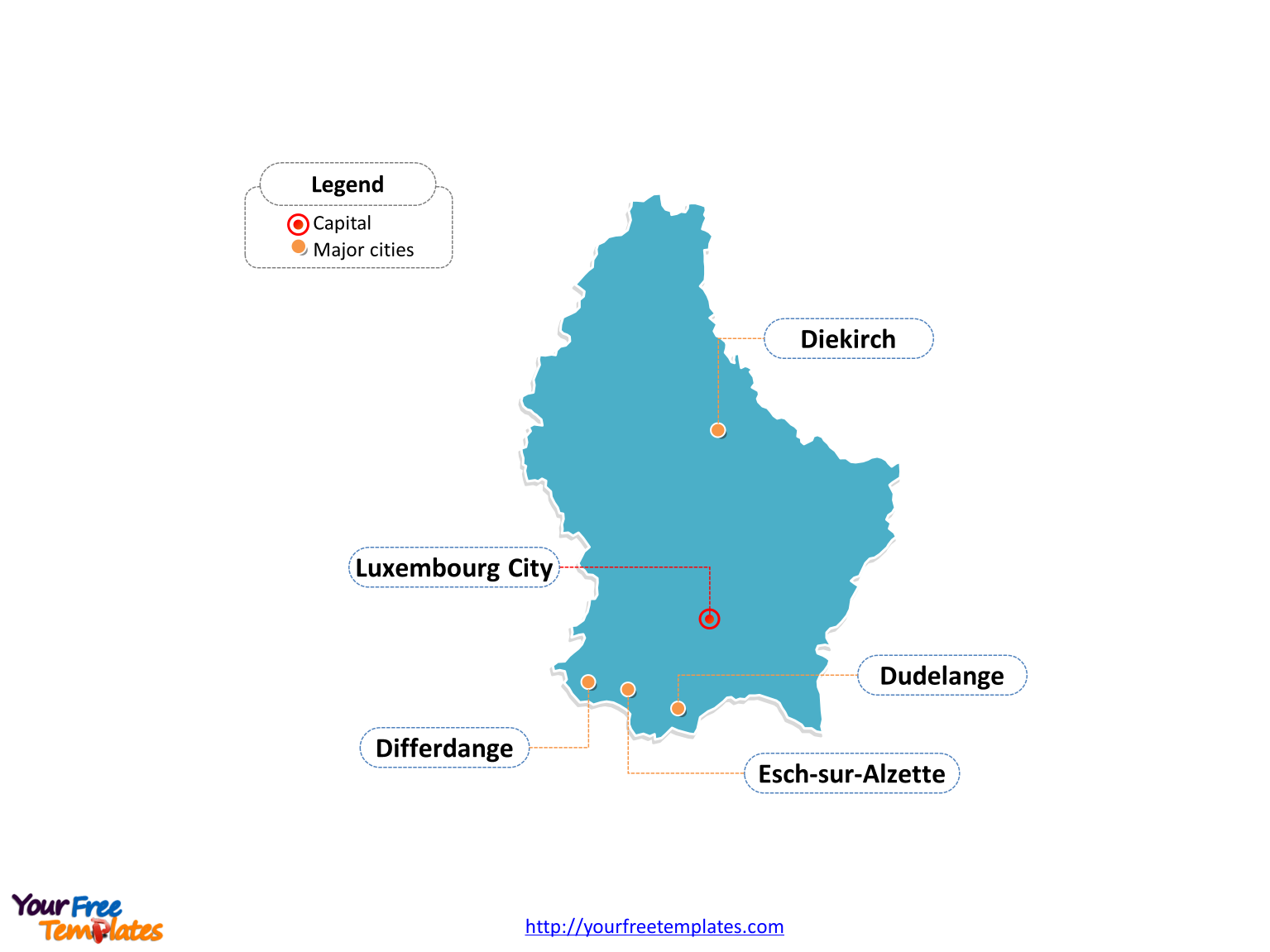 Luxembourg Outline map labeled with cities