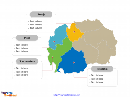 Macedonia Municipality map labeled with major statistical regions