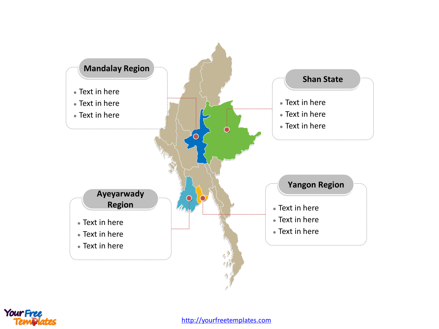 Myanmar Political map labeled with major regions and states