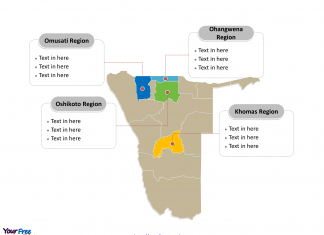 Namibia Political map labeled with major regions