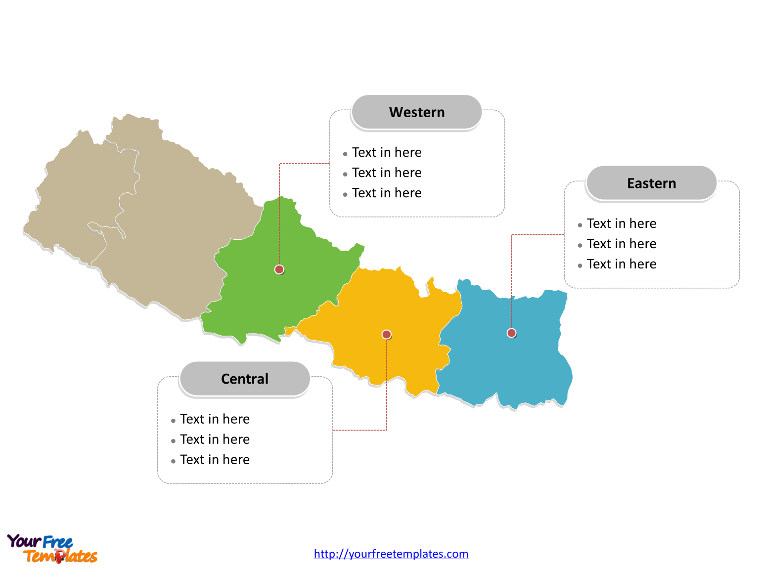 Nepal region map labeled with major development regions