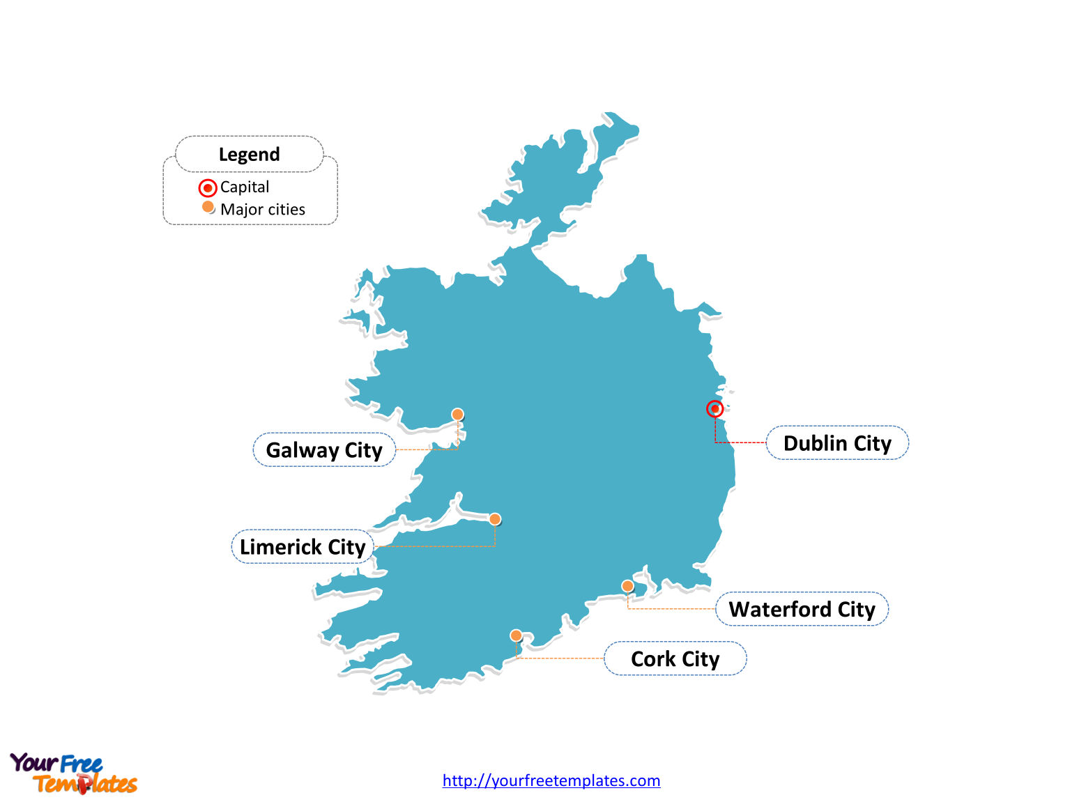 Republic of Ireland Outline map labeled with cities