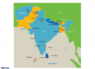 South Asia Political map labeled with major cities