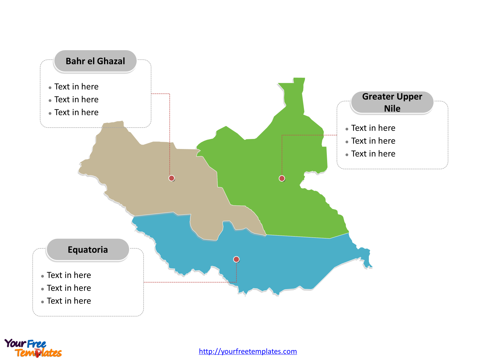 South Sudan Outline map labeled with Provinces