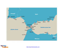 Strait of Gibraltar country Outline map labeled with important cities along the strait.