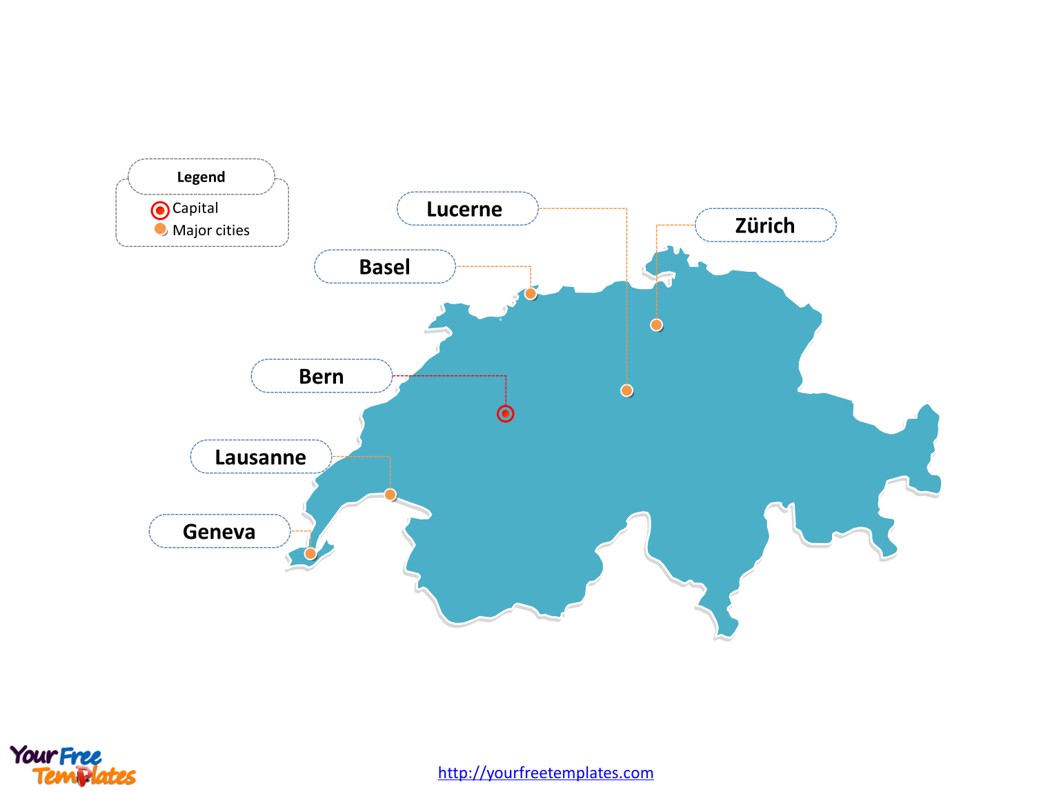 Switzerland Outline map labeled with cities