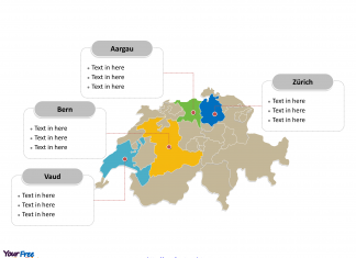 Switzerland Political map labeled with major cantons