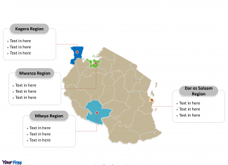 Tanzania Political map labeled with major Regions