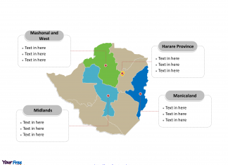 Zimbabwe Political map labeled with major provinces