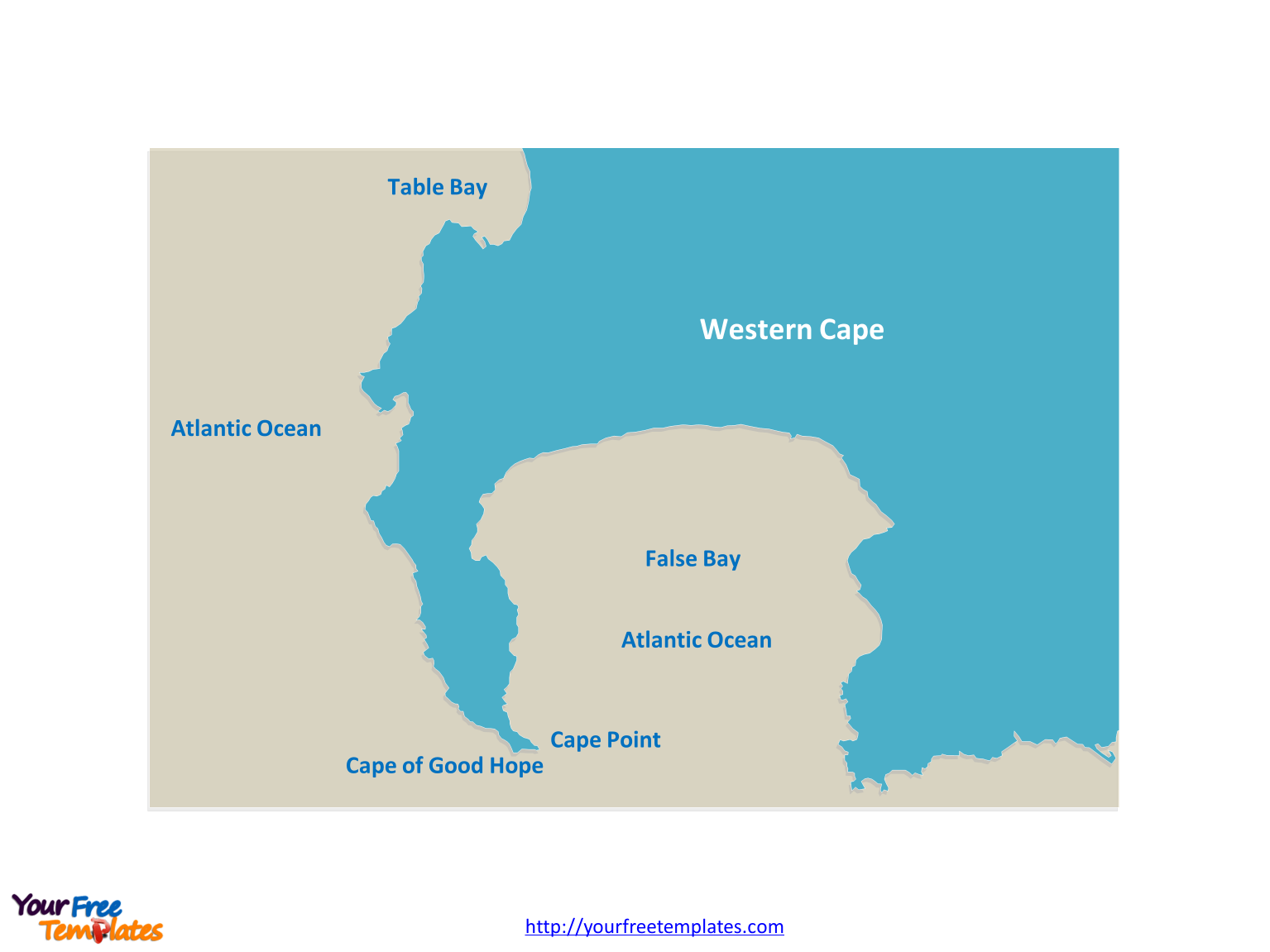 Cape of Good Hope Outline map labeled Cape Point location