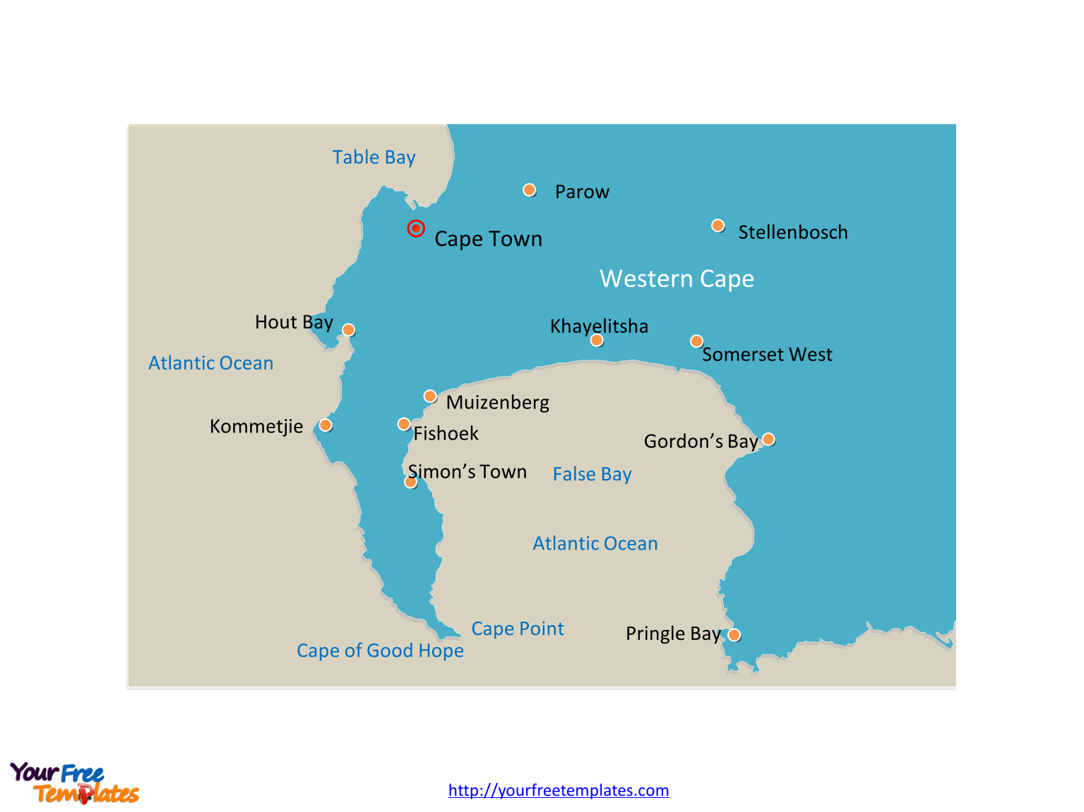 Cape of Good Hope map labeled with major cities