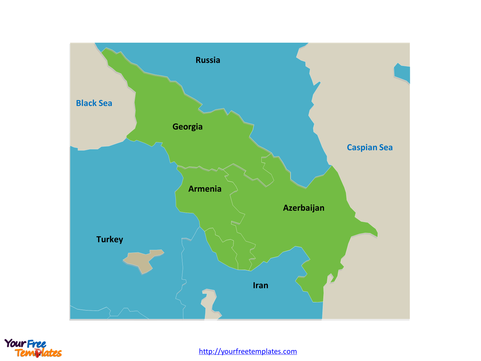 Caucasus map labeled with country names