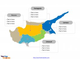 Cyprus Municipality map labeled with major districts