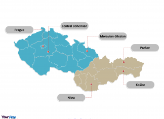 Czech-Slovakia political map labeled with major divisions
