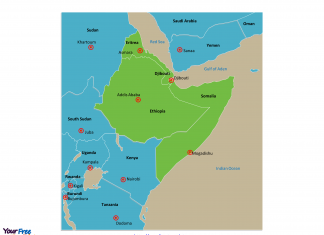 Horn of Africa map labeled with capitals
