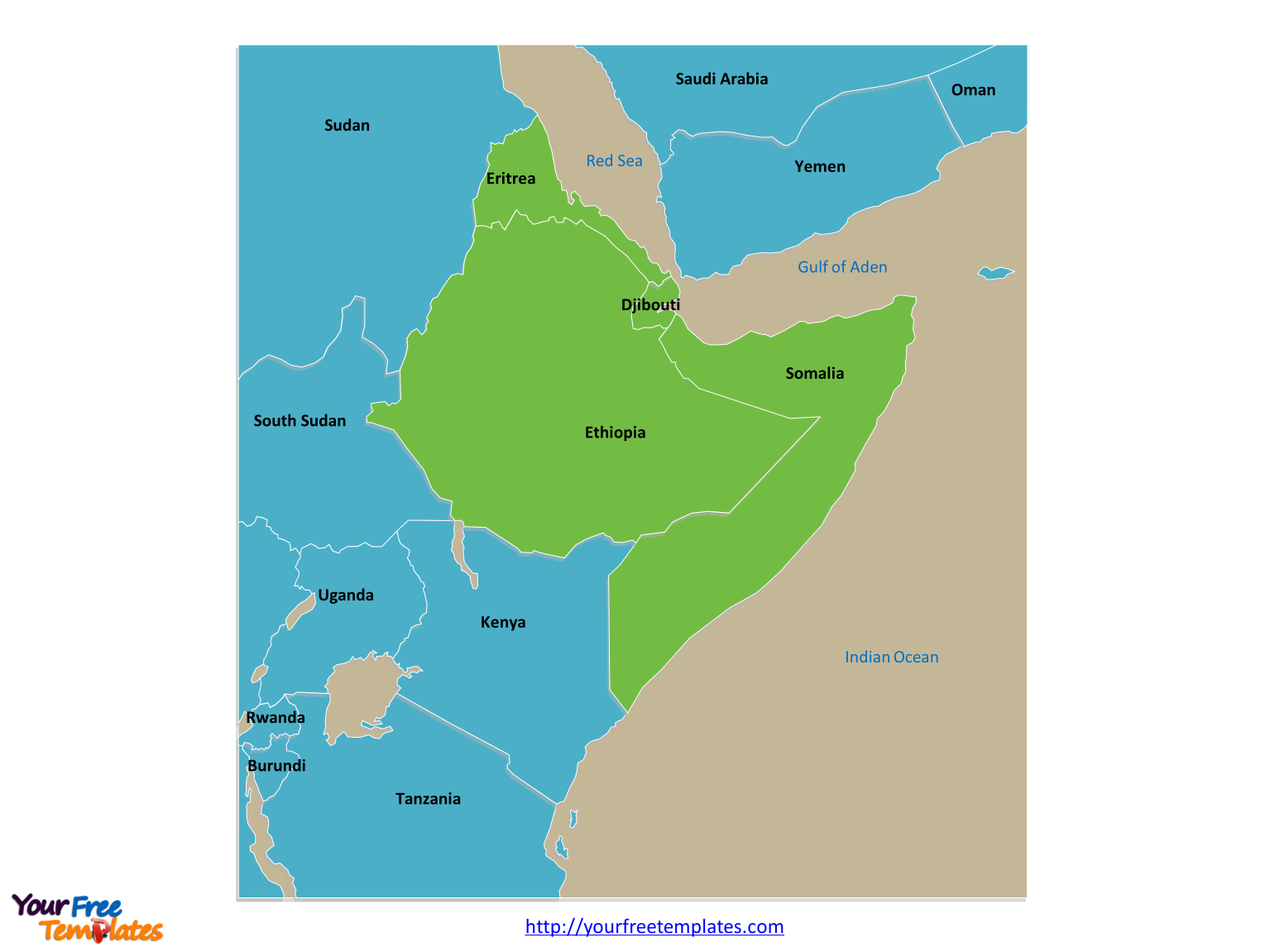 Map Of The Horn Of Africa Free Horn of Africa Editable Map   Free PowerPoint Templates