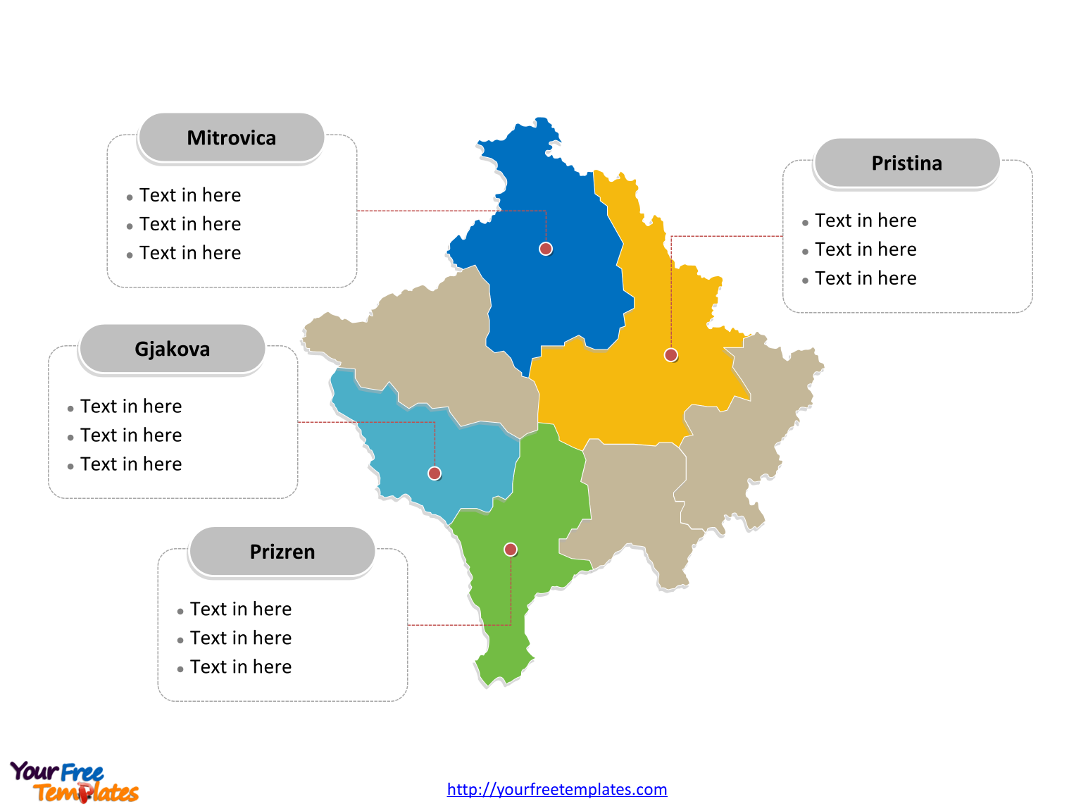 Kosovo political map labeled with major districts