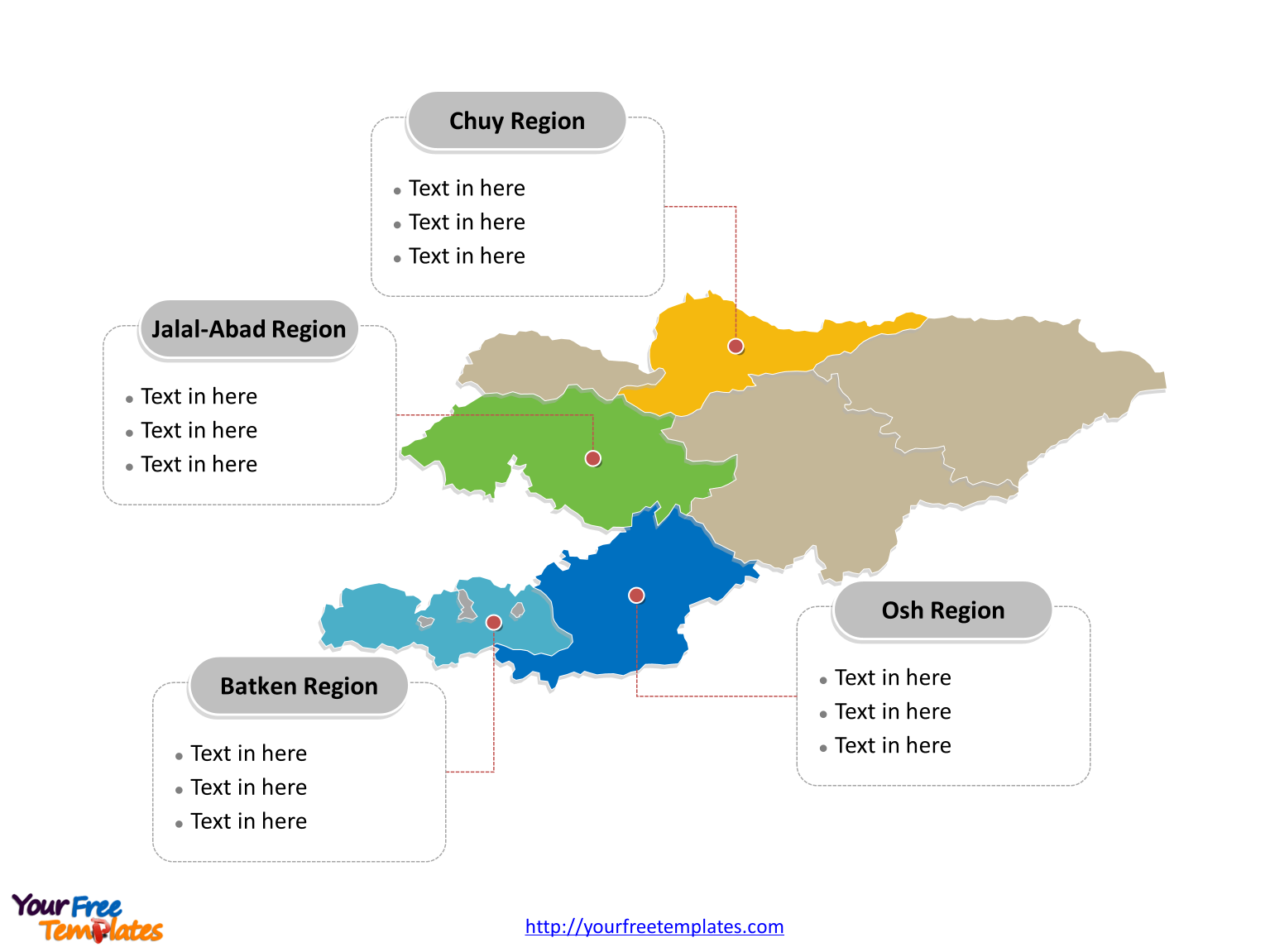Kyrgyzstan Editable map of political divisions labeled with major Regions