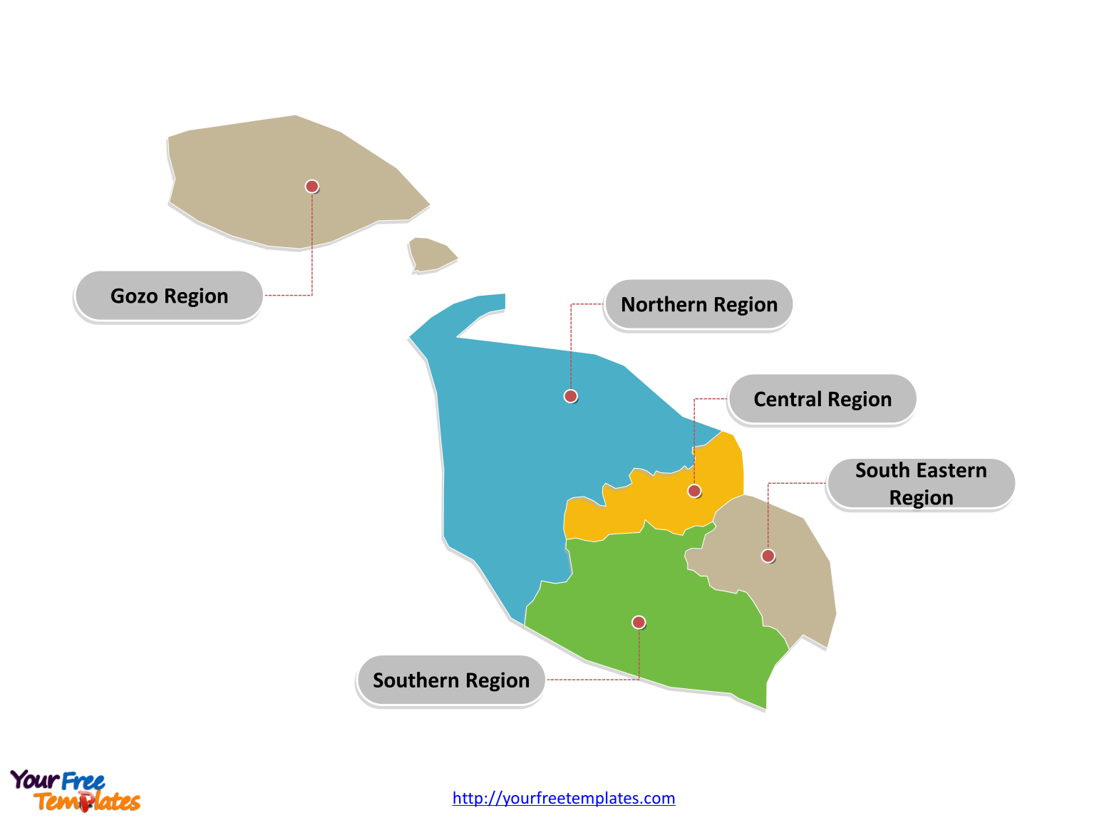 Malta district map labeled with major districts