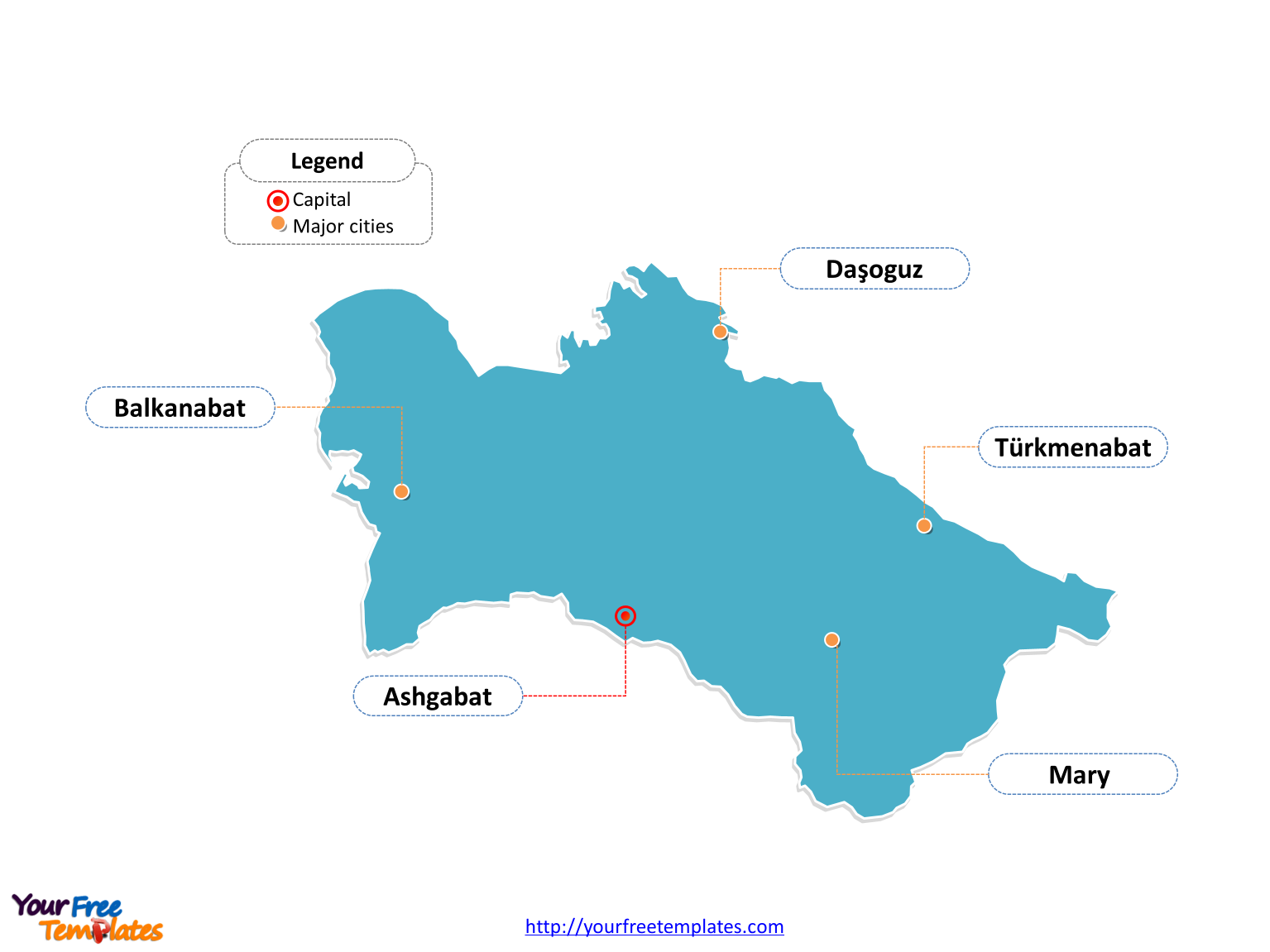 Turkmenistan Outline map labeled with cities