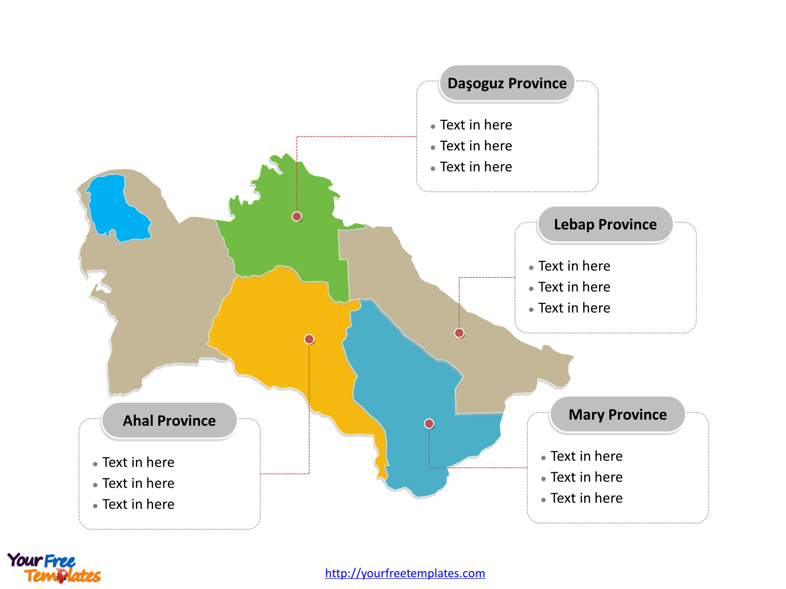 Turkmenistan Municipality map labeled with major Provinces