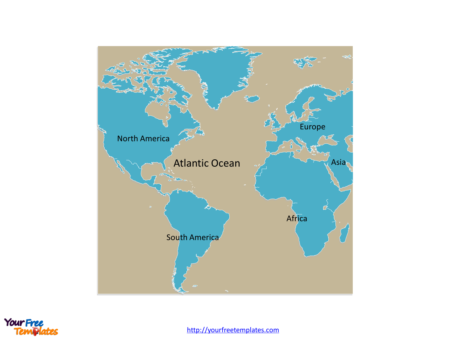 Atlantic Ocean map labeled with continent names