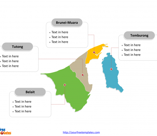 Brunei district map labeled with districts