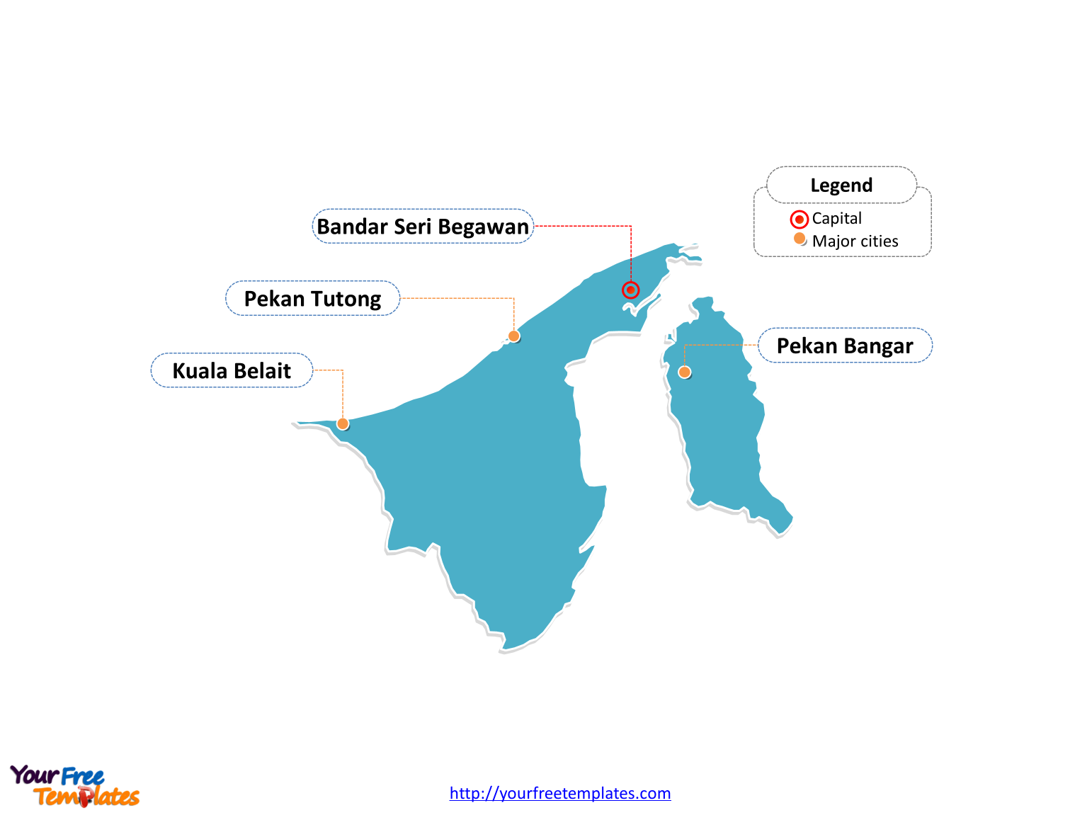 Brunei Editable map labeled with cities in this Brunei map