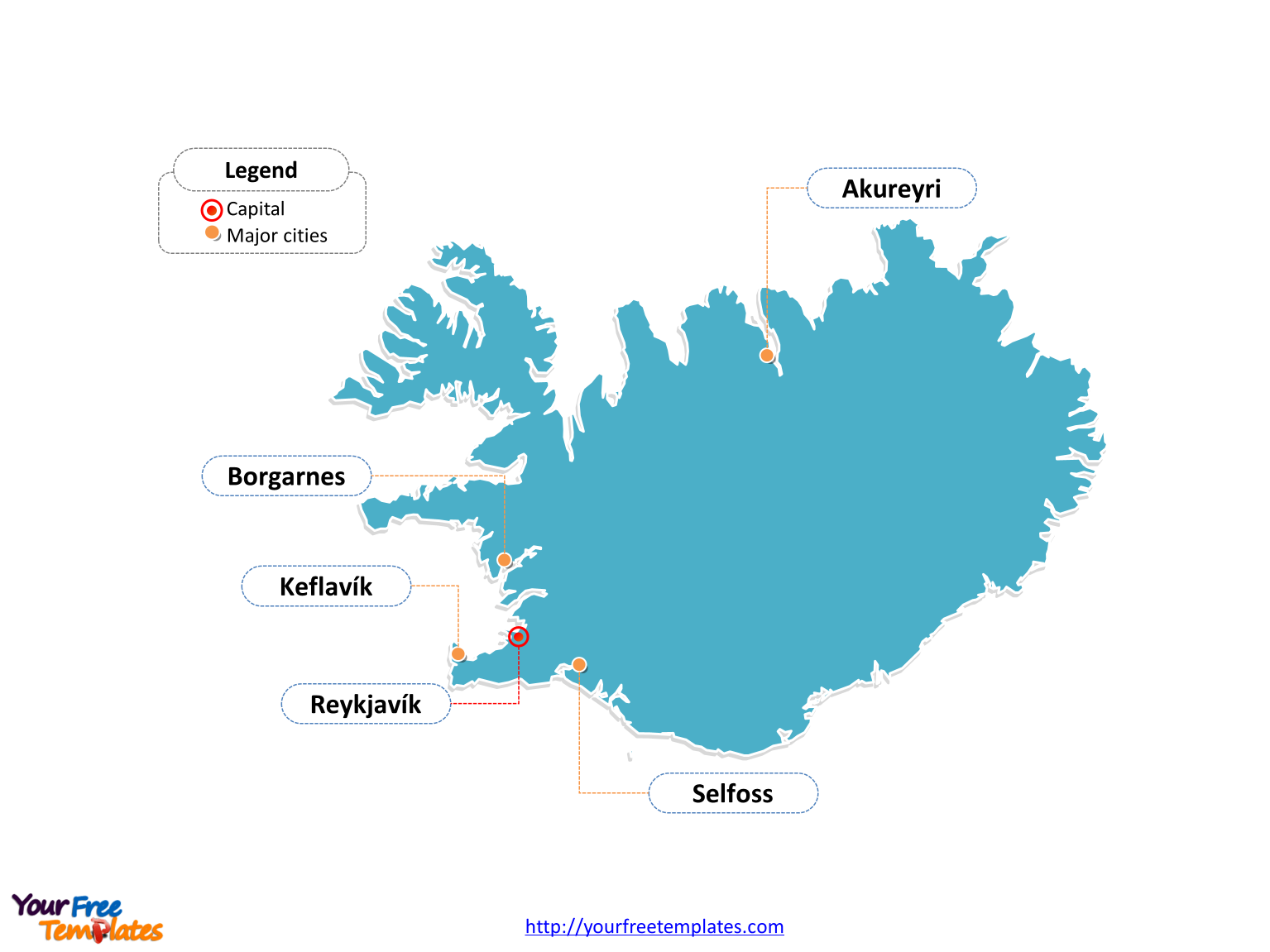Iceland map labeled with cities