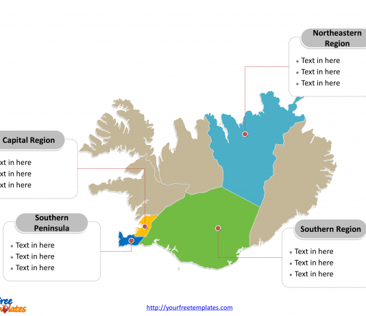 Iceland map labeled with major political regions