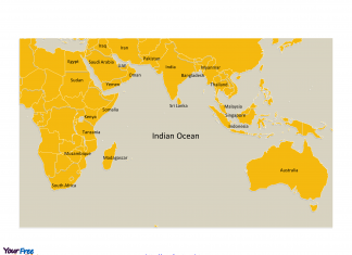Indian Ocean map labeled major country names