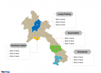 Laos Province map labeled with major Provinces