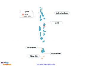 Maldives map labeled with cities