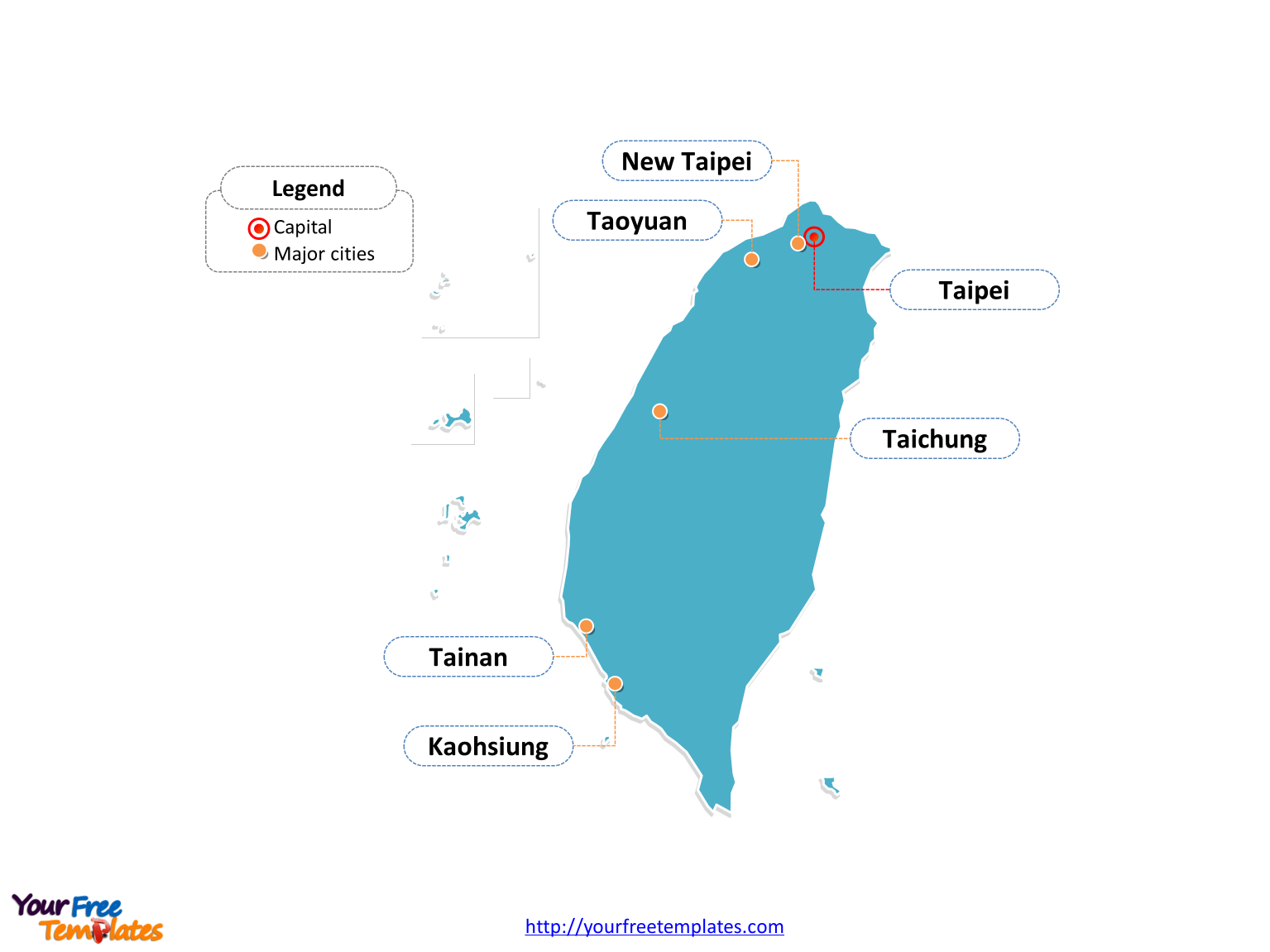 Taiwan map labeled with cities