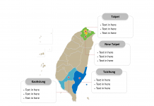 Taiwan map labeled with major municipalities and counties