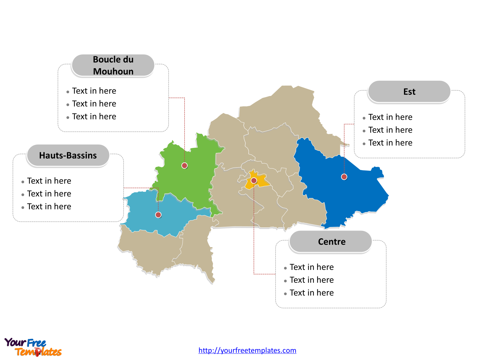 Burkina Faso map labeled with major political regions