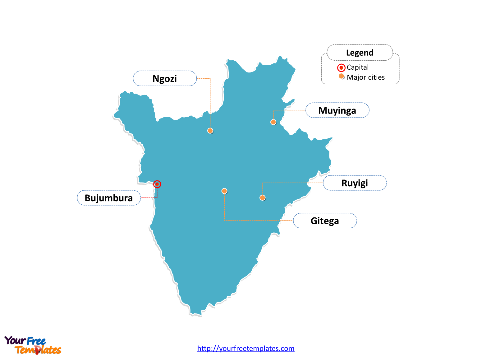 Burundi map labeled with cities